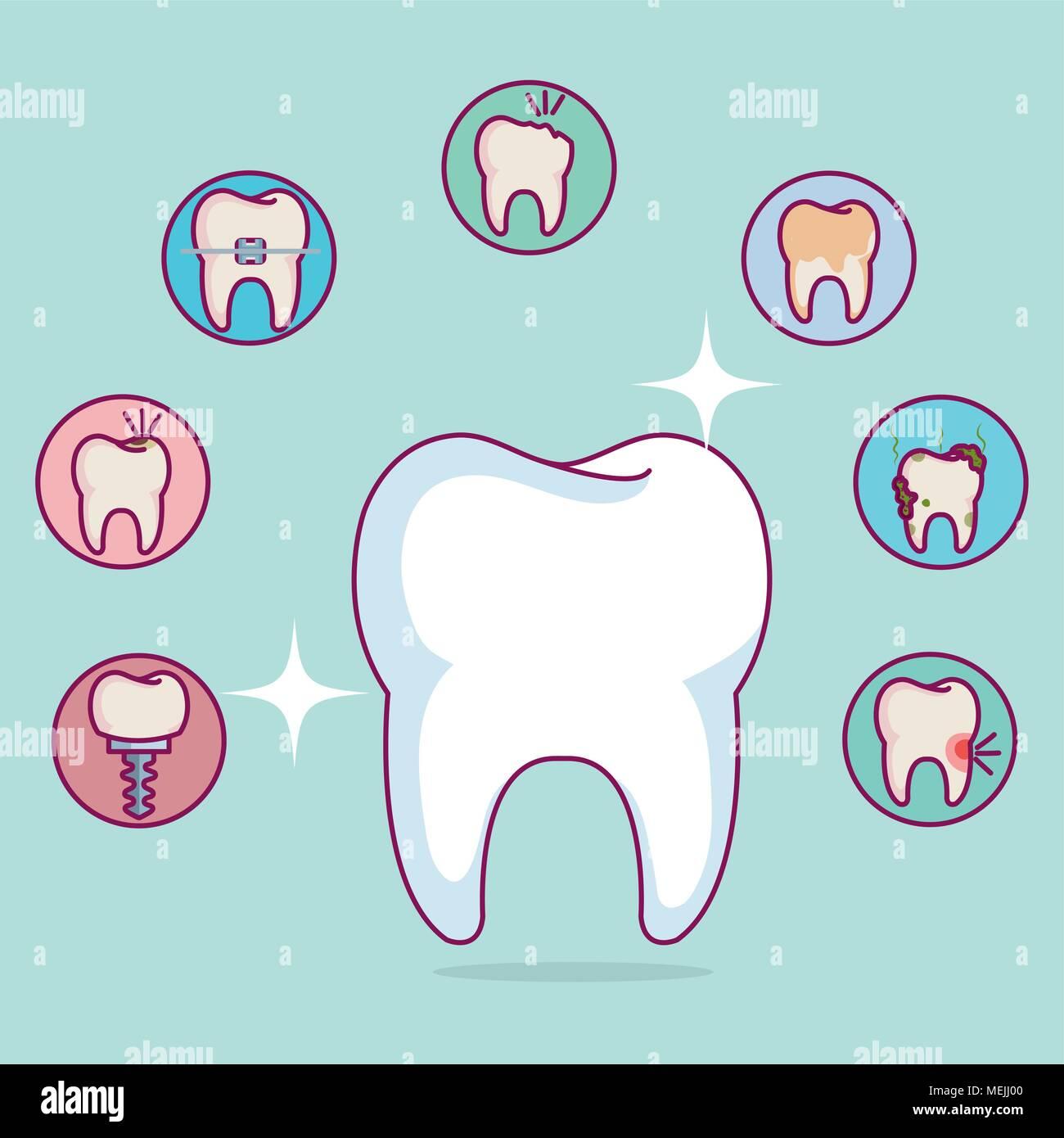 dental care set icons - Stock Image