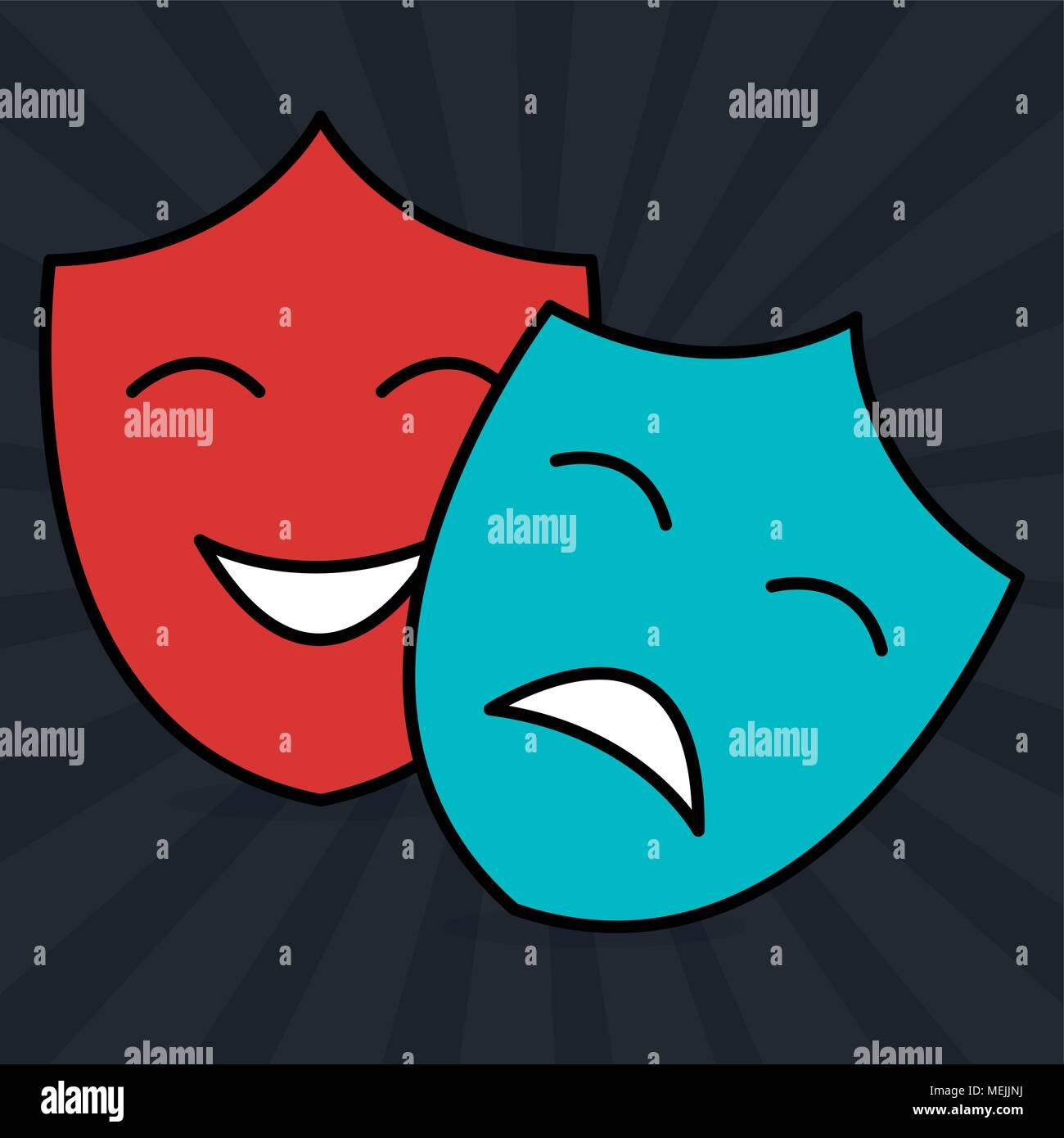 cinema theatrical mask entertainment icon - Stock Image