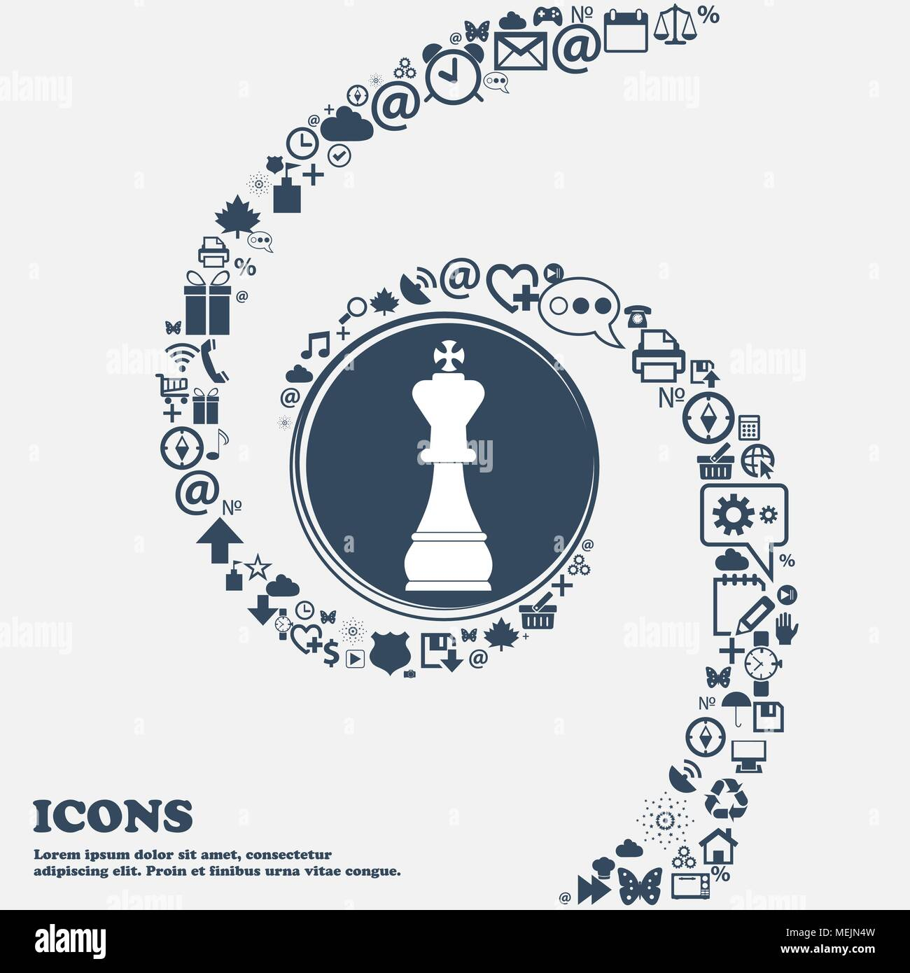 Chess King Icon In The Center Around The Many Beautiful Symbols