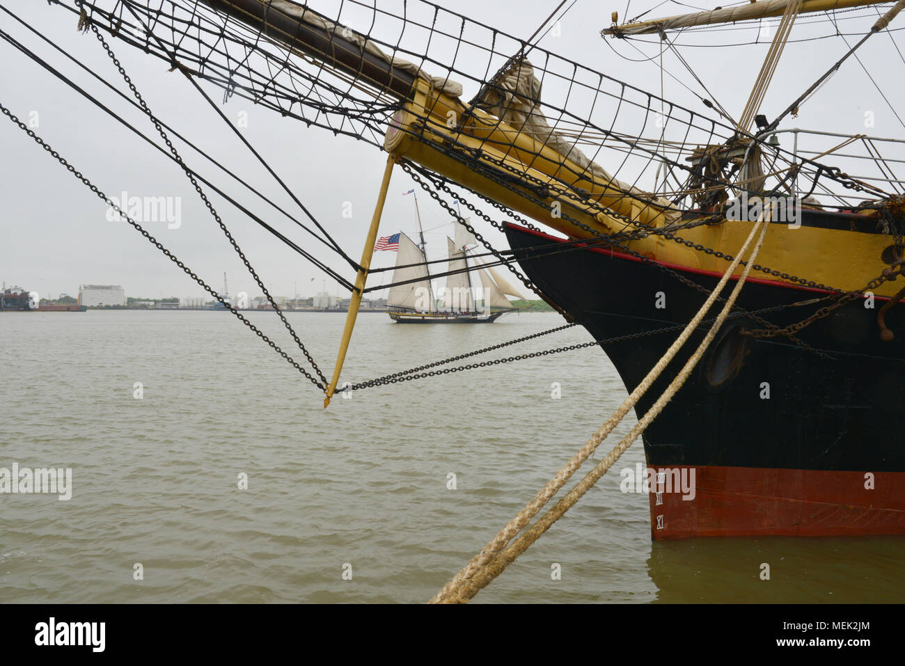 Tall Ships at the Tall Ships Festival in Galveston, Texas - Stock Image