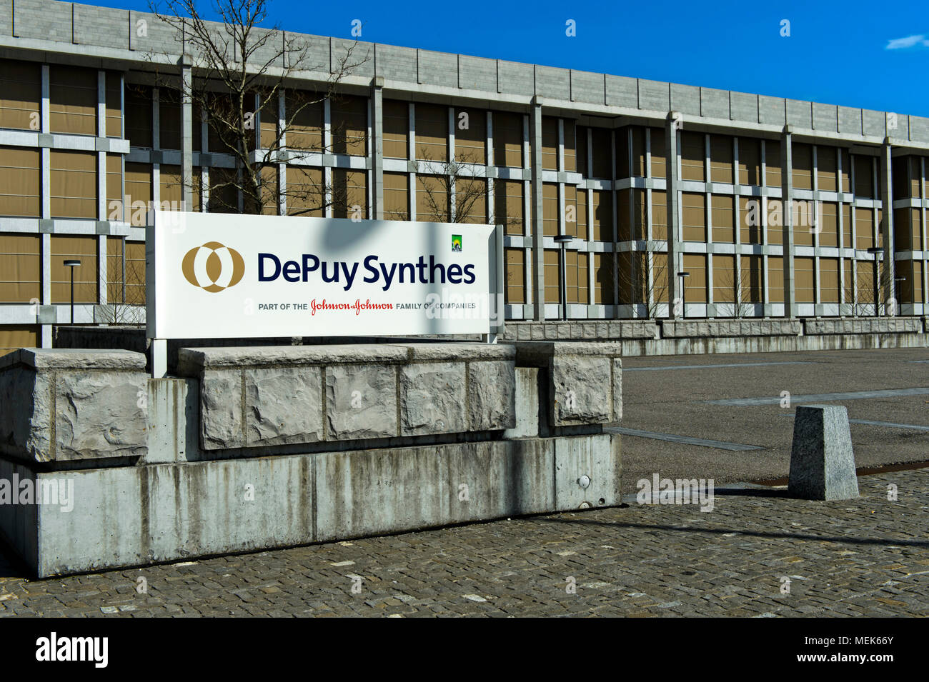 European headquarters of DePuy Synthes, part of the Johnson & Johnson Medical Devices Companies, Zuchwil, Switzerland - Stock Image