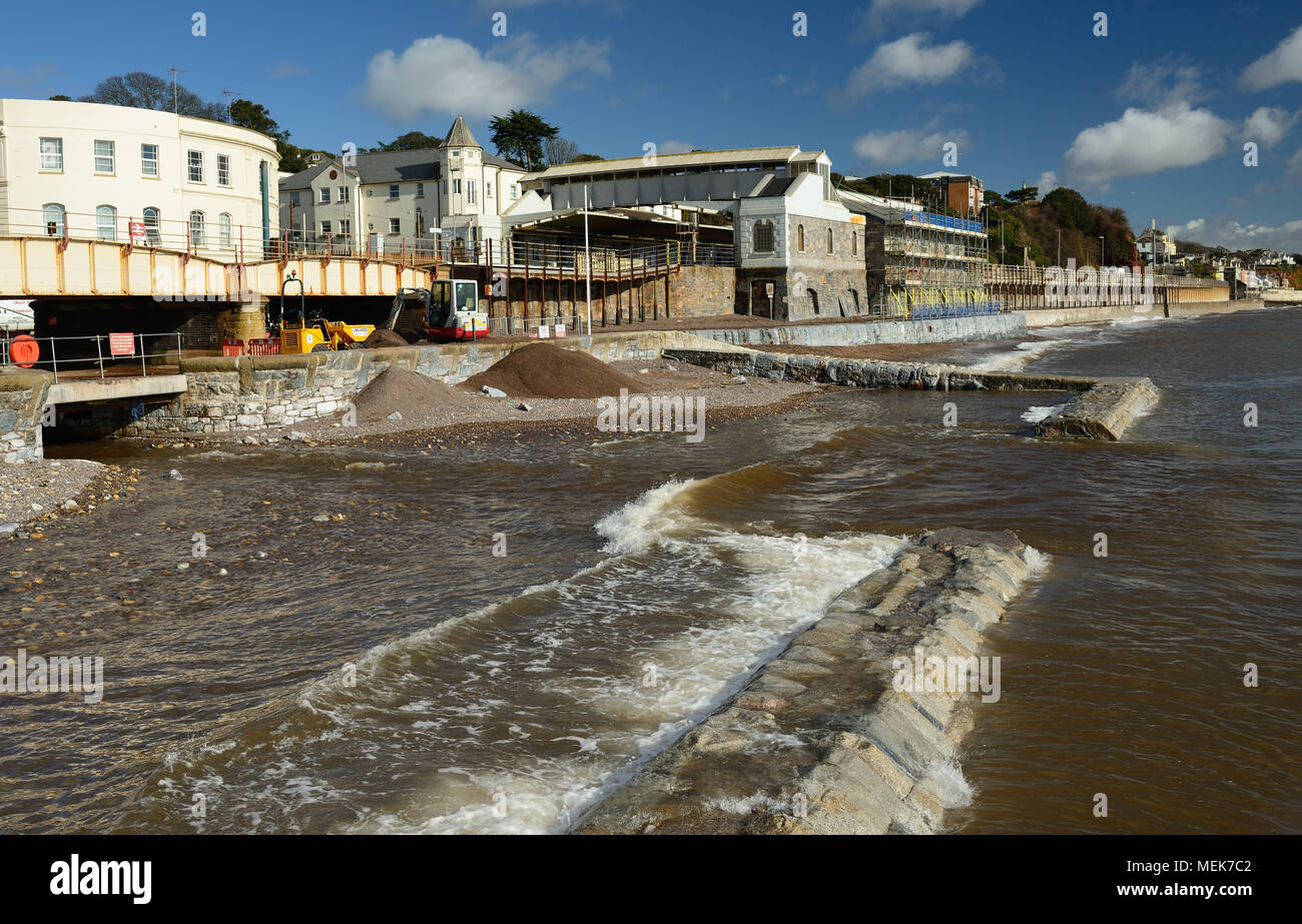 Dawlish railway station under repair following storm damage. - Stock Image
