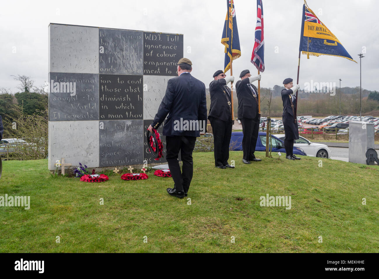 Wreath laying at the Walter Tull memorial, Sixfields, Northampton, UK; Tull was a Northampton Town footballer and the first black officer in WW1. - Stock Image