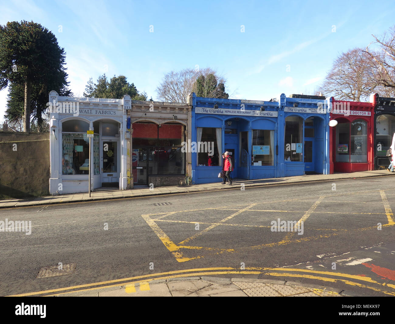 Old shop fronts Morningside Road Edinburgh - Stock Image