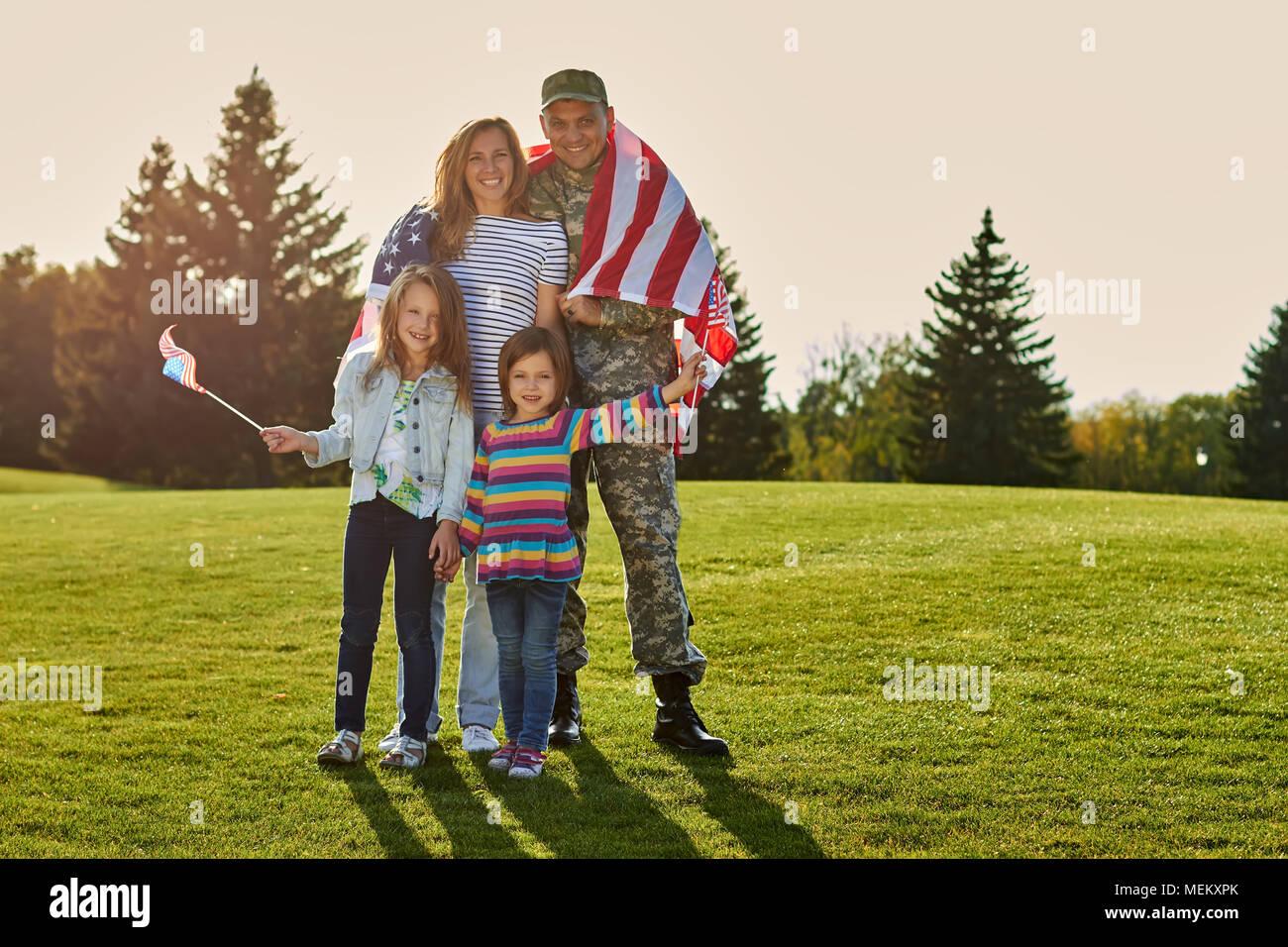 Shot of patriotic family. - Stock Image