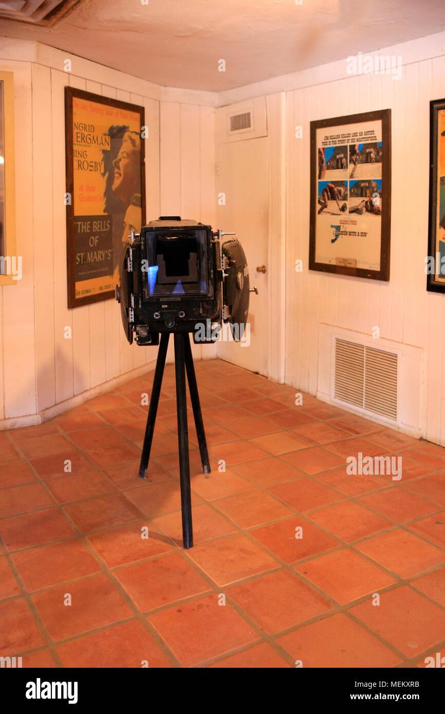 Old VistaVision film camera on display at the Old Tucson Film Studios amusement park in Arizona - Stock Image