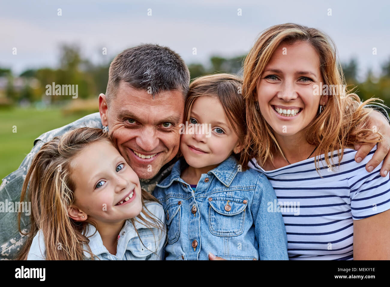 Portrait of happy family. - Stock Image