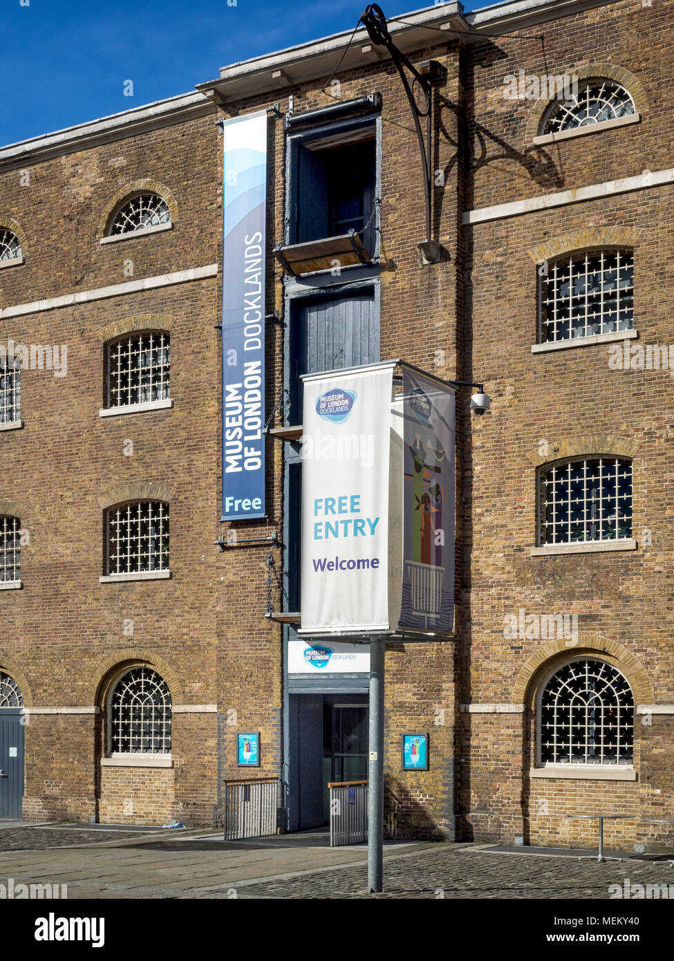 DOCKLANDS, LONDON:  Signs outside Museum of London Docklands - Stock Image