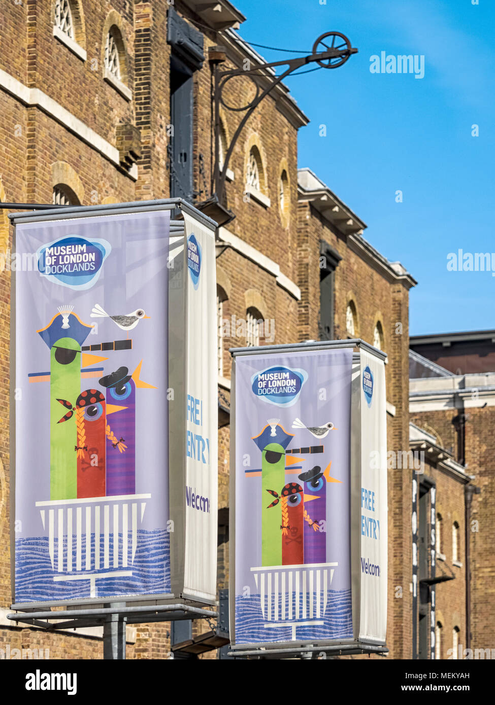 DOCKLANDS, LONDON:  Banner Signs outside Museum of London Docklands - Stock Image