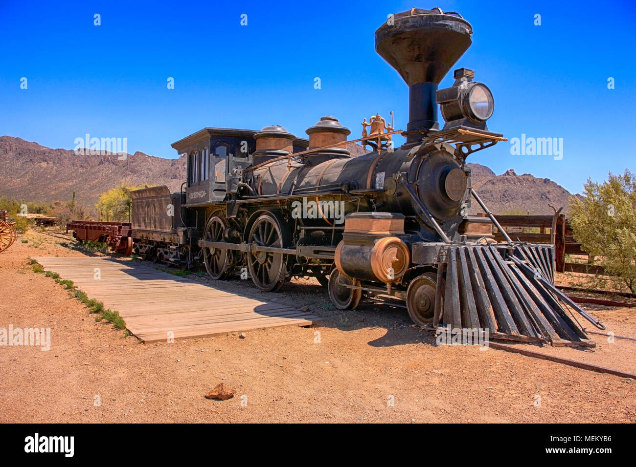 The Reno Locomotime used in the Gambler movie at the Old Tucson Film Studios amusement park in Arizona - Stock Image