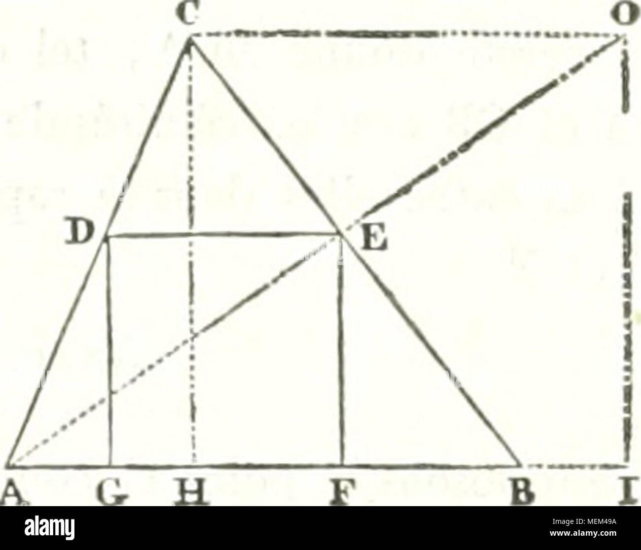 . Dictionnaire des sciences mathématiques pures et appliquées . donc les quatrièmes termes sont nécessairement égaux, et l'on a OI = CO = CH. Ainsi, la figure CHIO est un carré dont le côté est égal à la hauteur du triangle donné, et il ne faut que cons- truire ce carré pour obtenir le point E, et par consé- quent résoudre le problème. Synthèse. Construction. Sur la hauteur CH du triangle donné, construisez le carré CHIO; joignez les points A et O par une droite; du point E, où cette droite rencontre le côté CB du triangle, abaissez la perpendiculaire EF sur la base, menez  Stock Photo