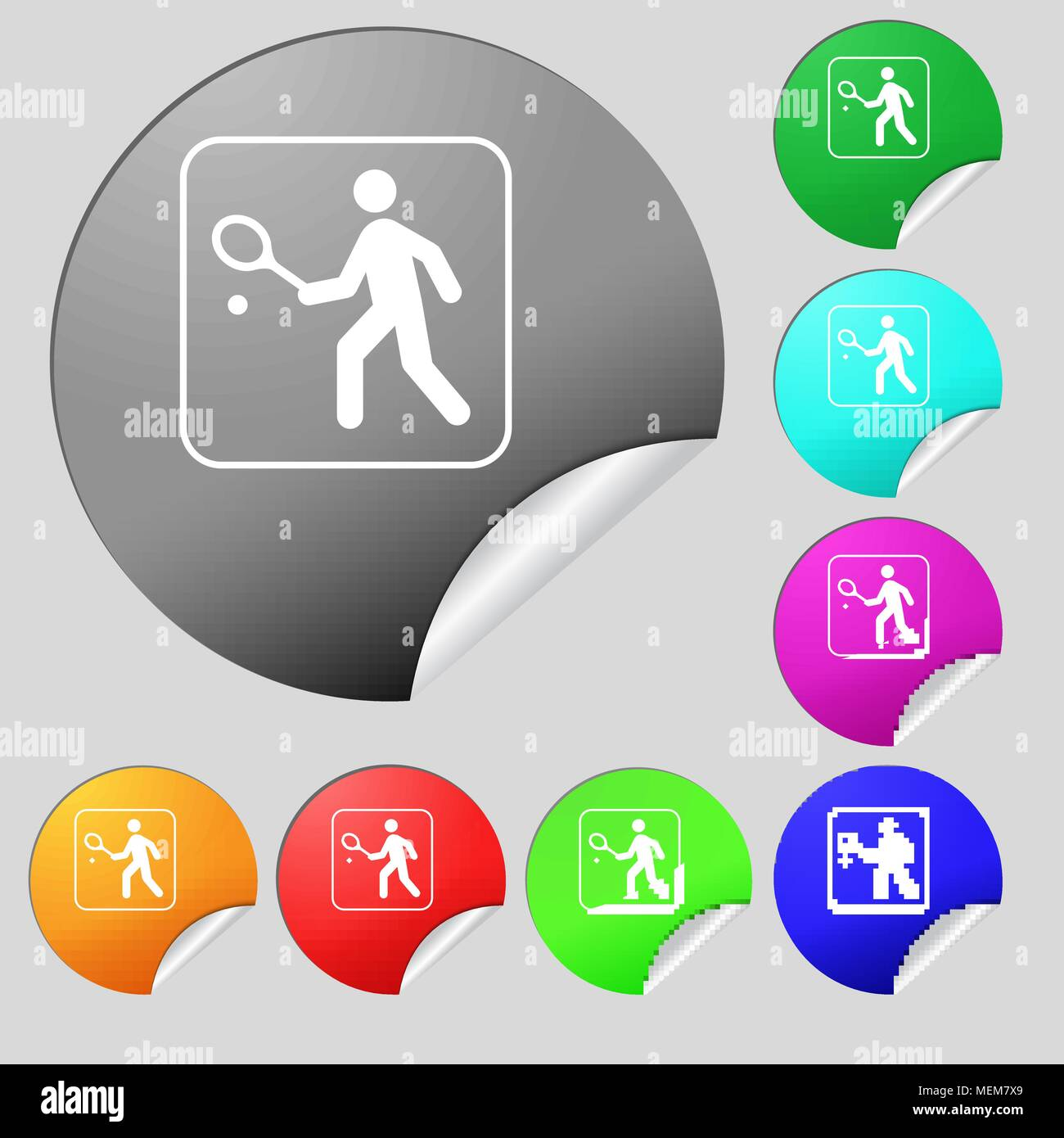 Tennis player icon sign. Set of eight multi colored round buttons, stickers. Vector illustration - Stock Image