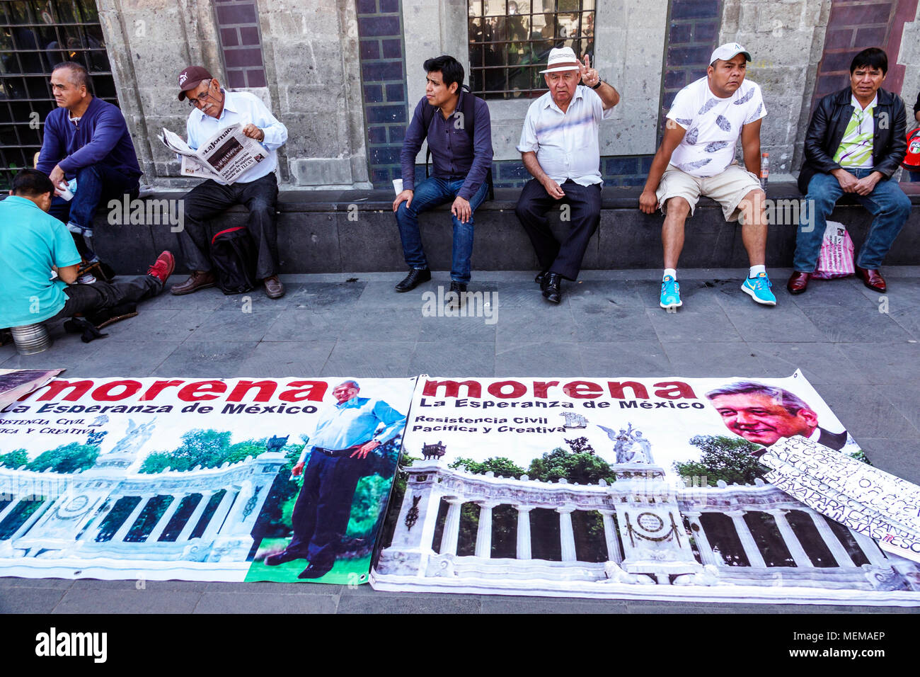 Mexico City Mexico Ciudad de Federal District Distrito DF D.F. CDMX Mexican Hispanic Centro Historico Historic Center Centre Avenida Juarez leftist political rally Movimiento Regeneracion Nacional Morena poster Lopez Obrador candidate man North America American - Stock Image