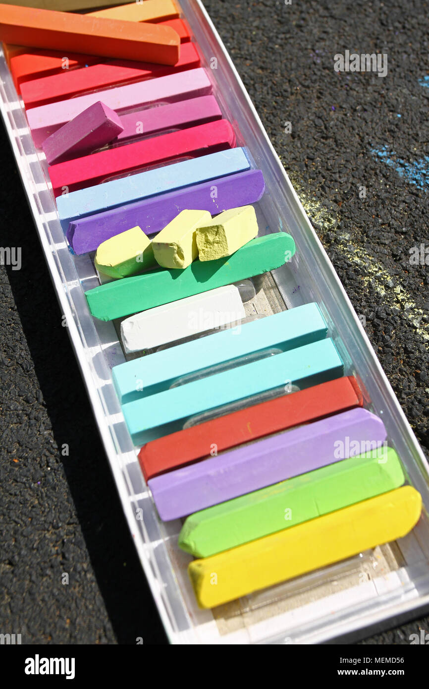 Colored chalks. Colorful chalk pastels. Education and arts, be creative when back to school. Color pastel chalk background. Color texture pattern. - Stock Image