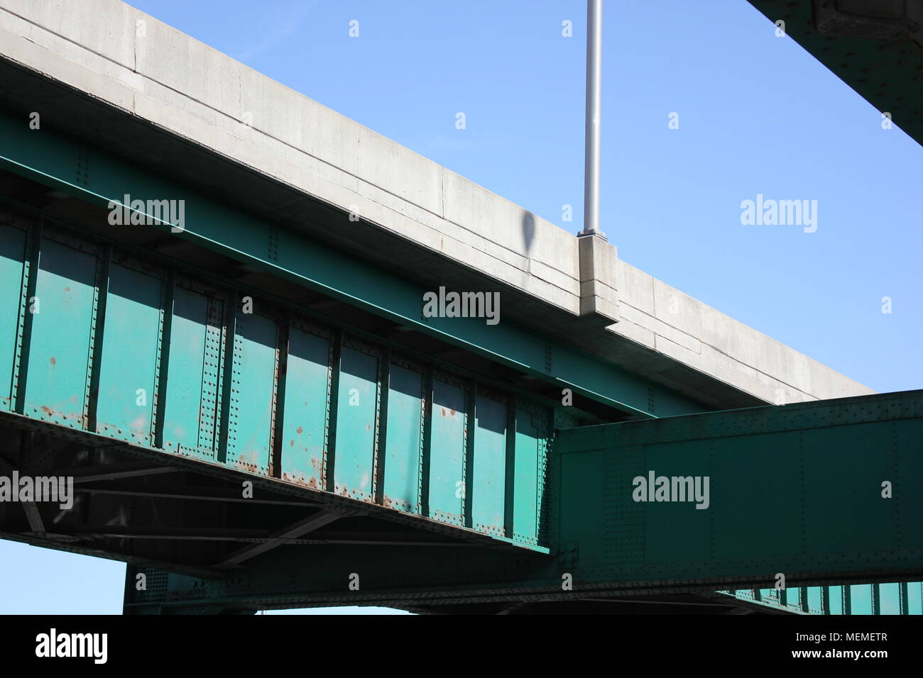 Interstate highway in Illinois cross cross with bridges and overpasses. - Stock Image