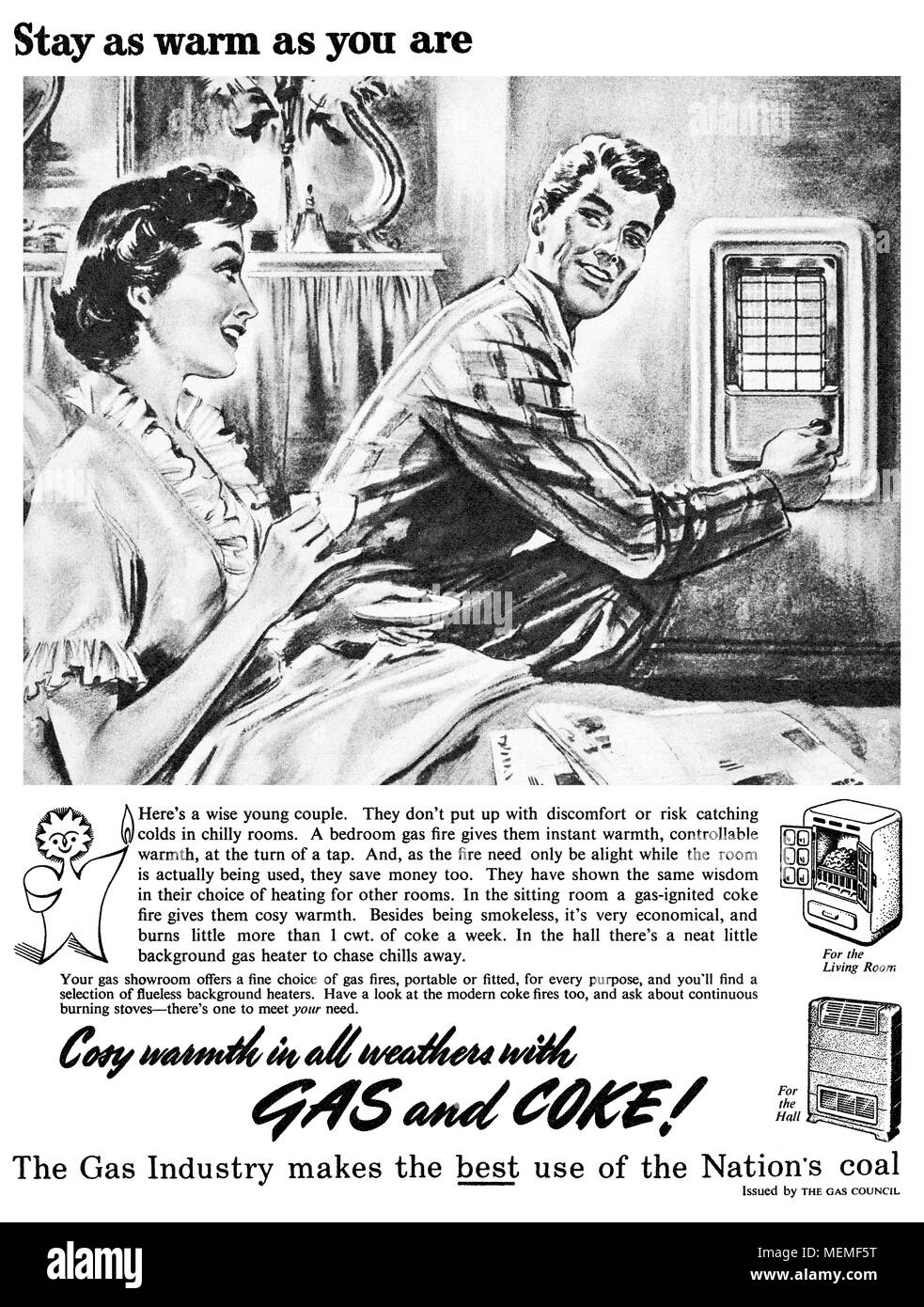 1954 British advertisement for The Gas Council promoting gas fires. Stock Photo