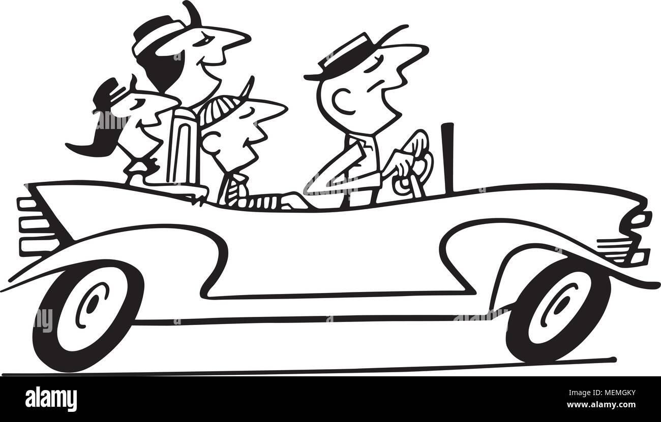 Family Car Ride 2 - Retro Clipart Illustration - Stock Vector