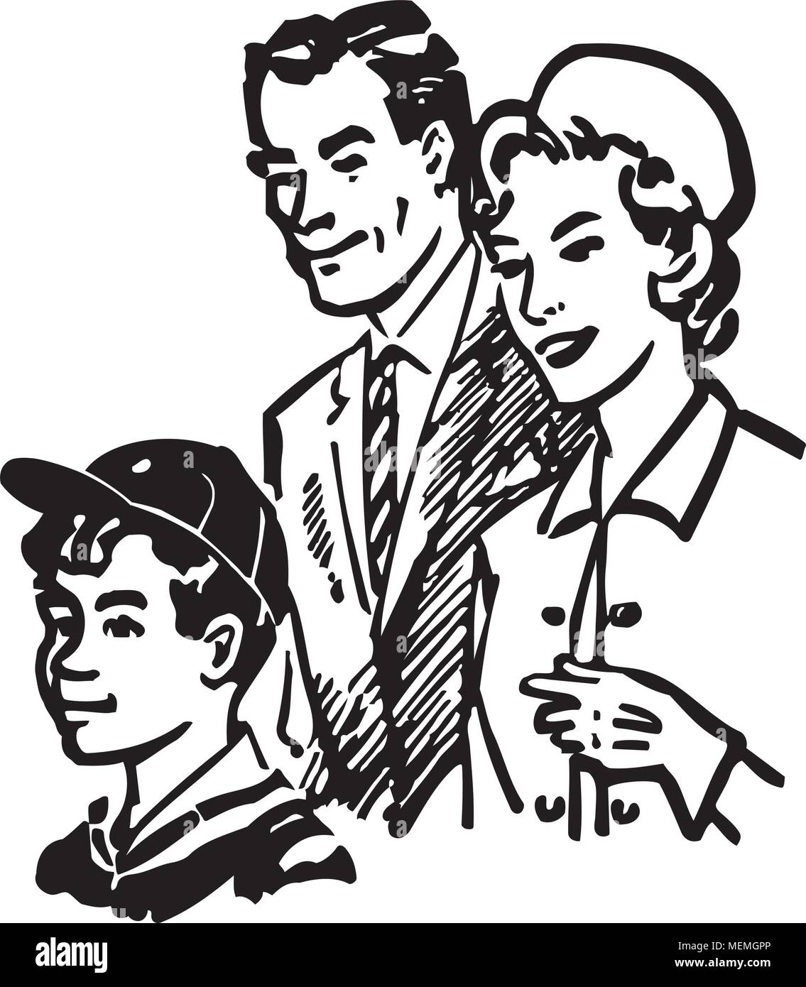 Family Of Three - Retro Clipart Illustration - Stock Vector