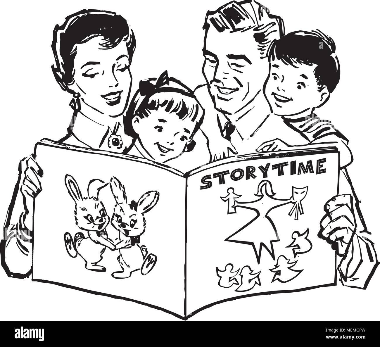 Family Reading Book Retro Clipart Illustration Stock