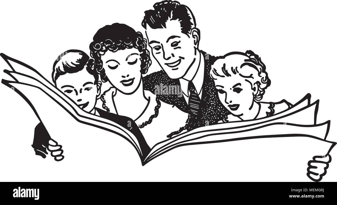 family reading newspaper - retro clipart illustration stock vector
