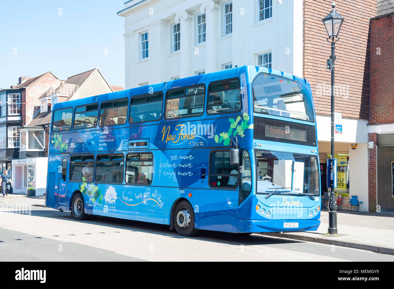 Double-decker New Forest Tour Bus, High Street, Lymington, Hampshire, England, United Kingdom - Stock Image
