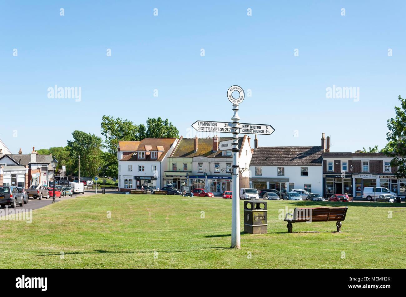 The village green, Milford-on-Sea, Hampshire, England, United Kingdom - Stock Image