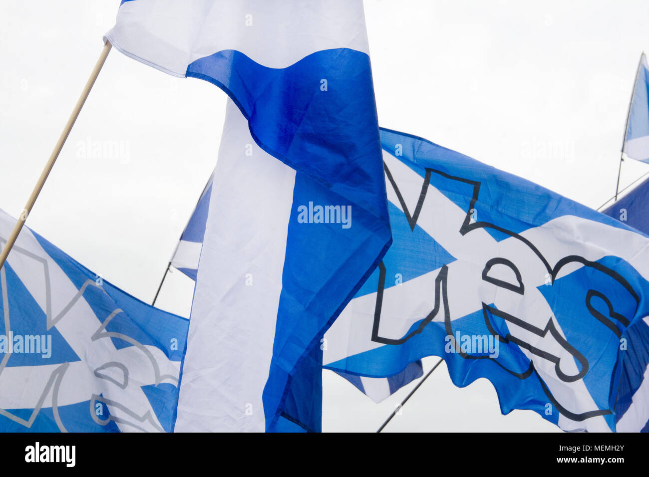 GLASGOW, SCOTLAND -SEPTEMBER 14th 2014: Two Saltire flags with the word 'YES' on it at the BBC Scotland HQ. Stock Photo