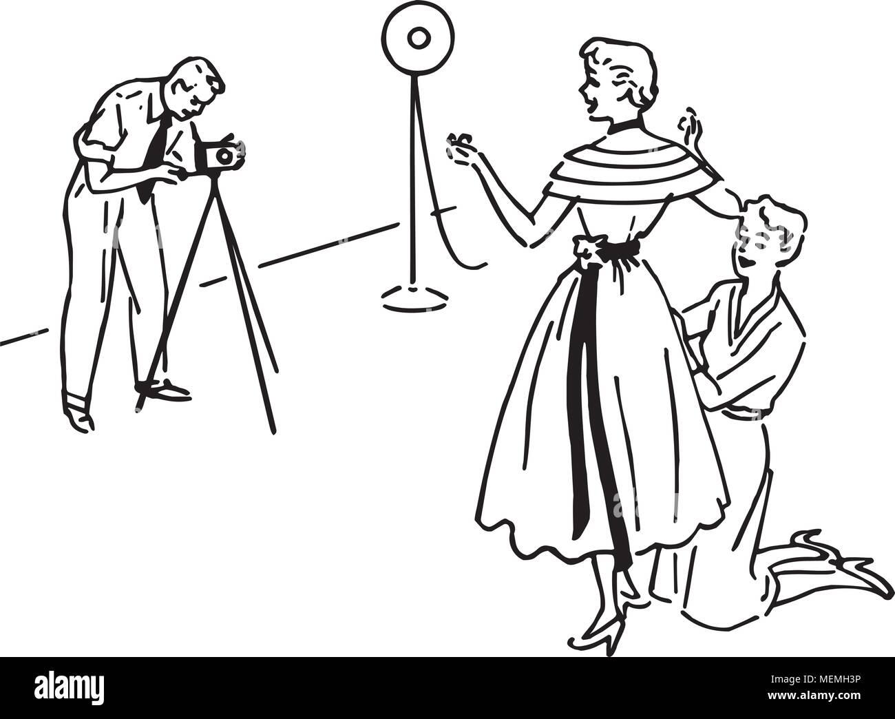 Fashion Photo Shoot - Retro Clipart Illustration - Stock Image