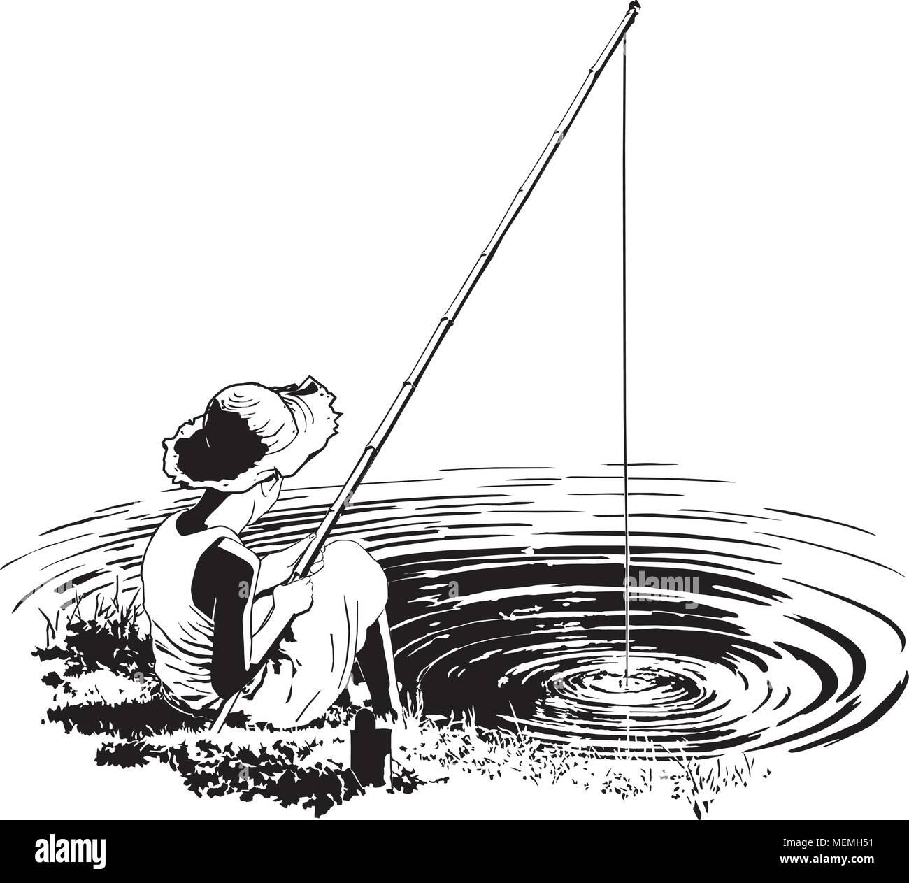 Favorite Fishing Hole - Retro Clipart Illustration - Stock Vector