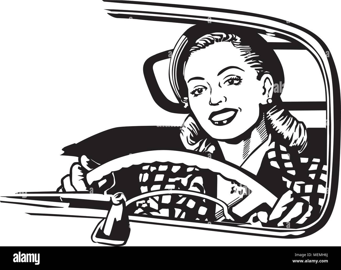 Female Motorist - Retro Clipart Illustration - Stock Vector