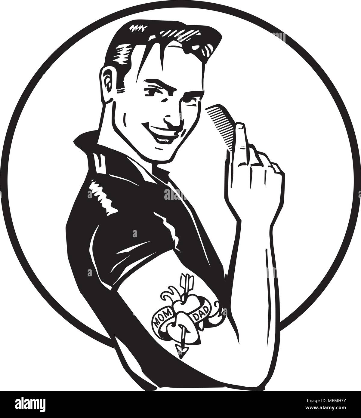 Fifties Greaser - Retro Clipart Illustration - Stock Image