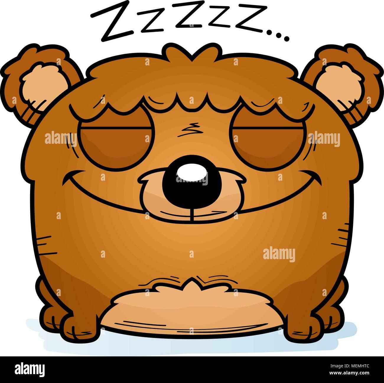 A cartoon illustration of a bear cub hibernating. - Stock Image