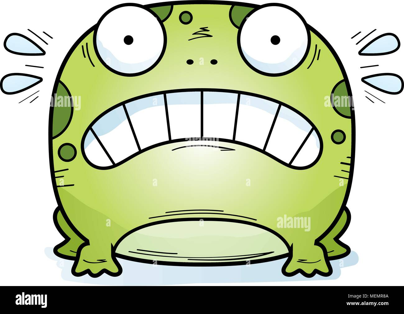 A cartoon illustration of a frog looking scared. Stock Vector