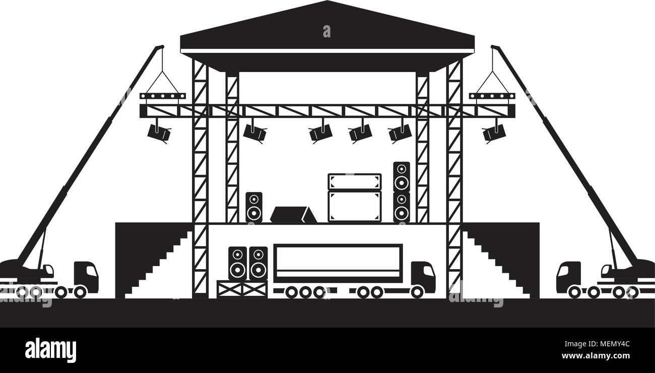 Building of musical stage - vector illustration - Stock Vector