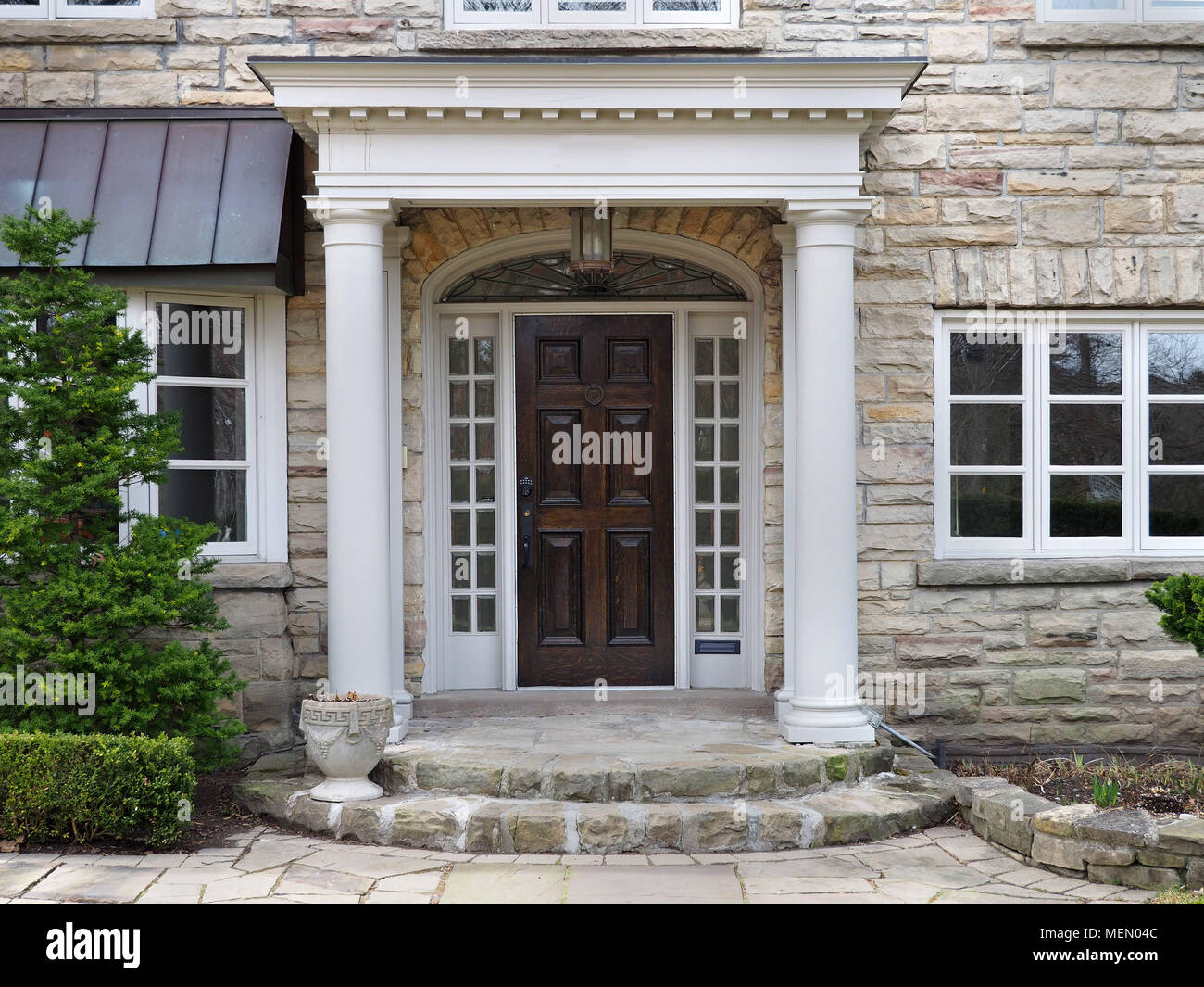 house front door with portico entrance & house front door with portico entrance Stock Photo: 181169980 - Alamy