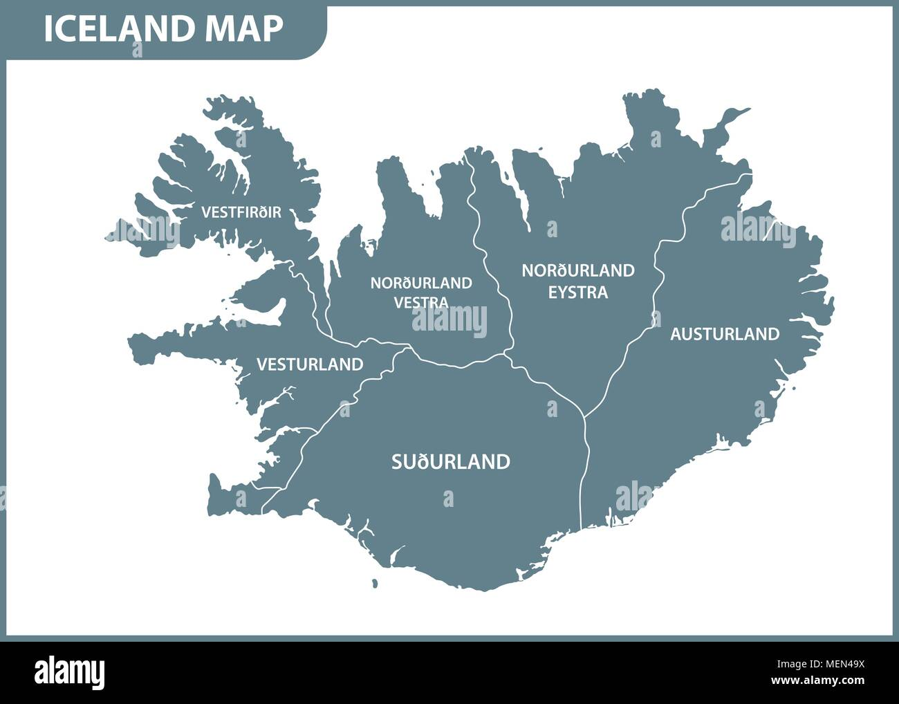 The detailed map of Iceland with regions or states. Administrative ...
