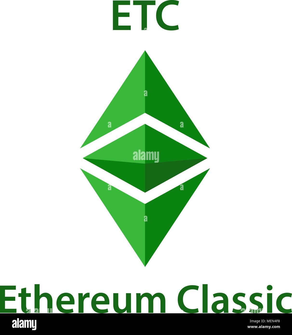 Ethereum Classic Cryptocurrency Blockchain Icon Virtual Electronic Internet Money Or Cryptocoin Symbol Logo