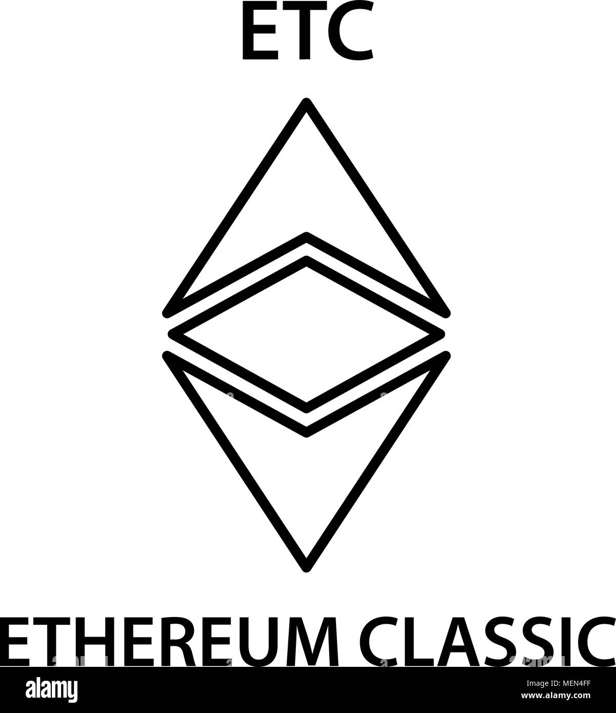 Ethereum classic cryptocurrency blockchain icon. Virtual electronic ...