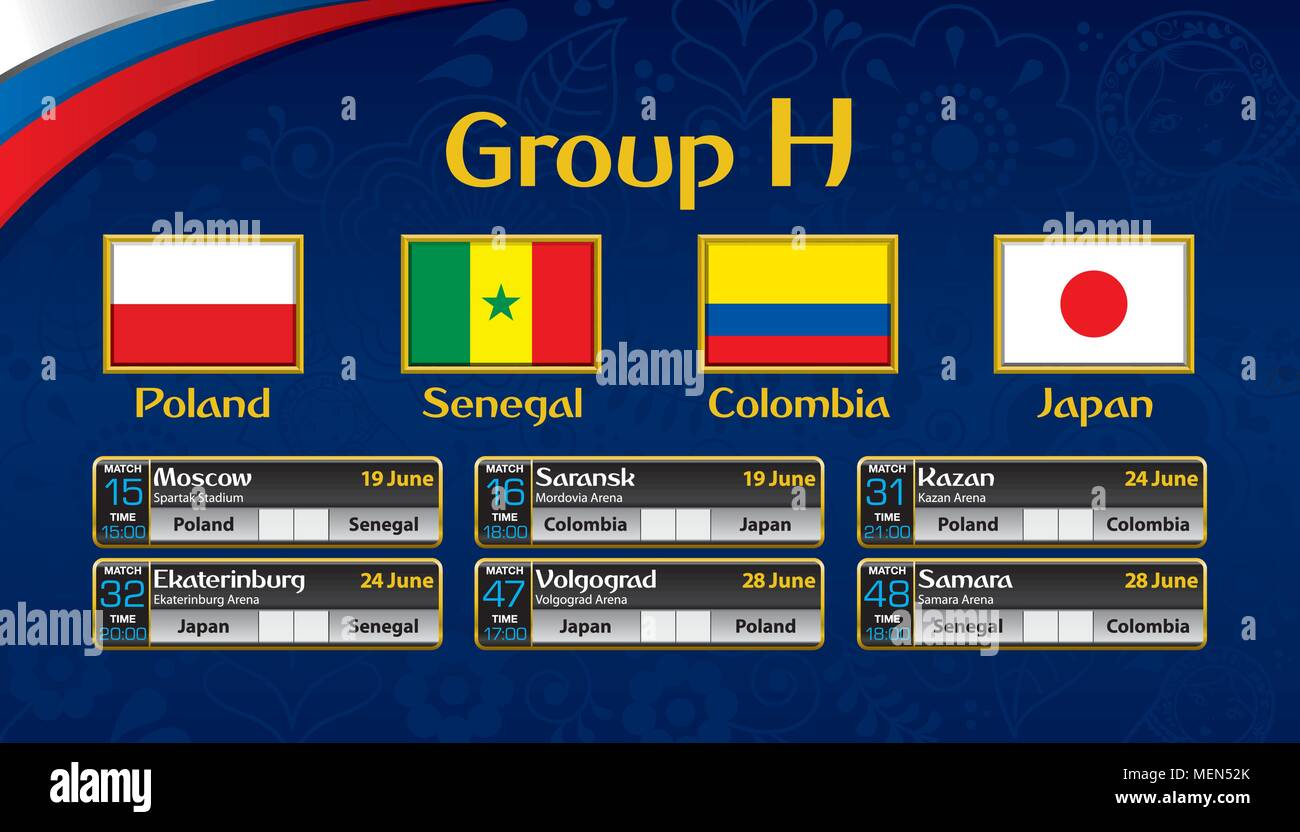 Russia soccer tournament calendar. Group H with the flag of each country. Schedule table with date, time , city location and soccer match result - Stock Image