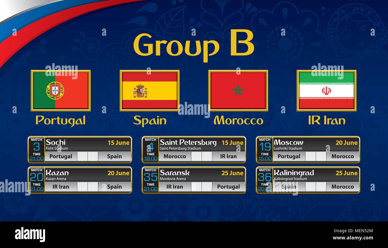 Russia soccer tournament calendar. Group B with the flag of each country. Schedule table with date, time , city location and soccer match result - Stock Image