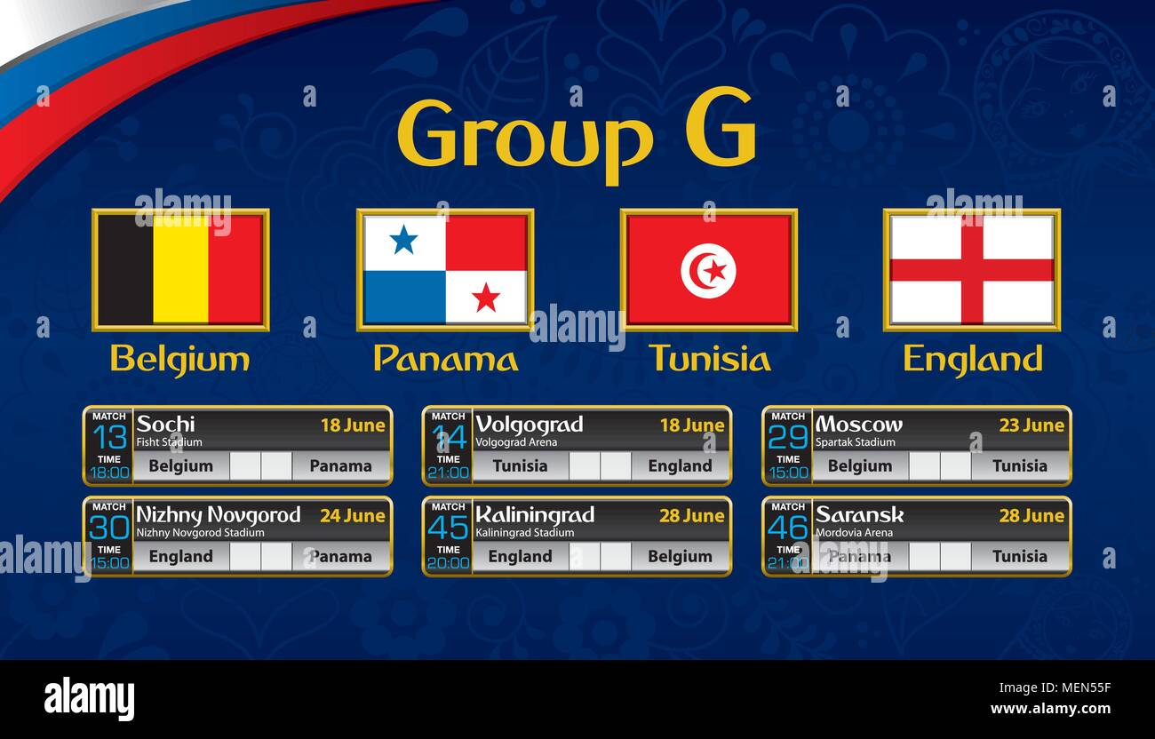 Russia soccer tournament calendar. Group G with the flag of each country. Schedule table with date, time , city location and soccer match result - Stock Image