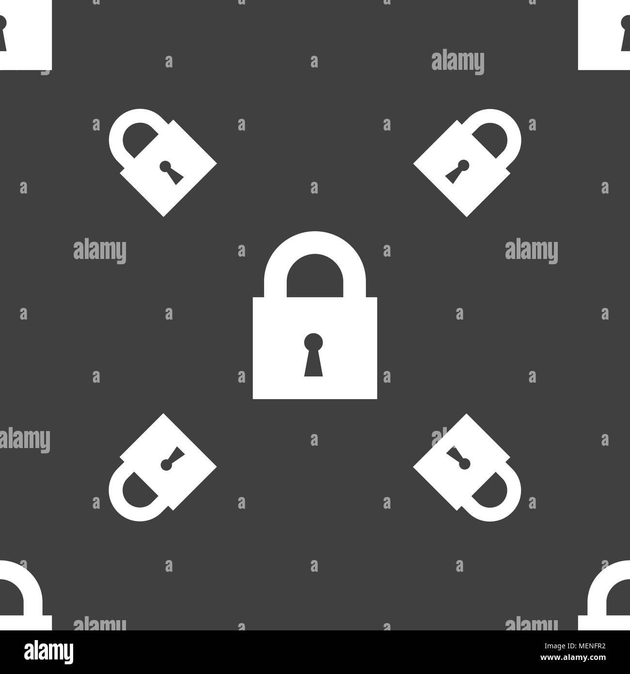 closed lock icon sign. Seamless pattern on a gray background. Vector illustration - Stock Image