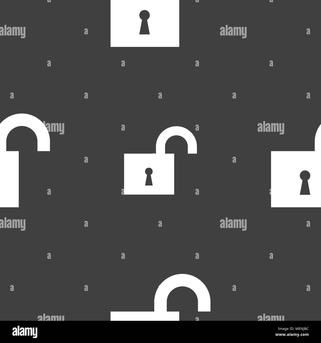 open lock icon sign. Seamless pattern on a gray background. Vector illustration - Stock Image