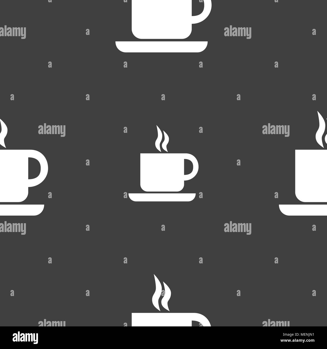 coffee icon sign. Seamless pattern on a gray background. Vector illustration - Stock Image