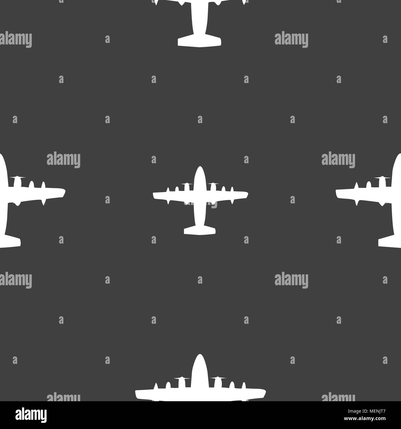 aircraft icon sign. Seamless pattern on a gray background. Vector illustration - Stock Image