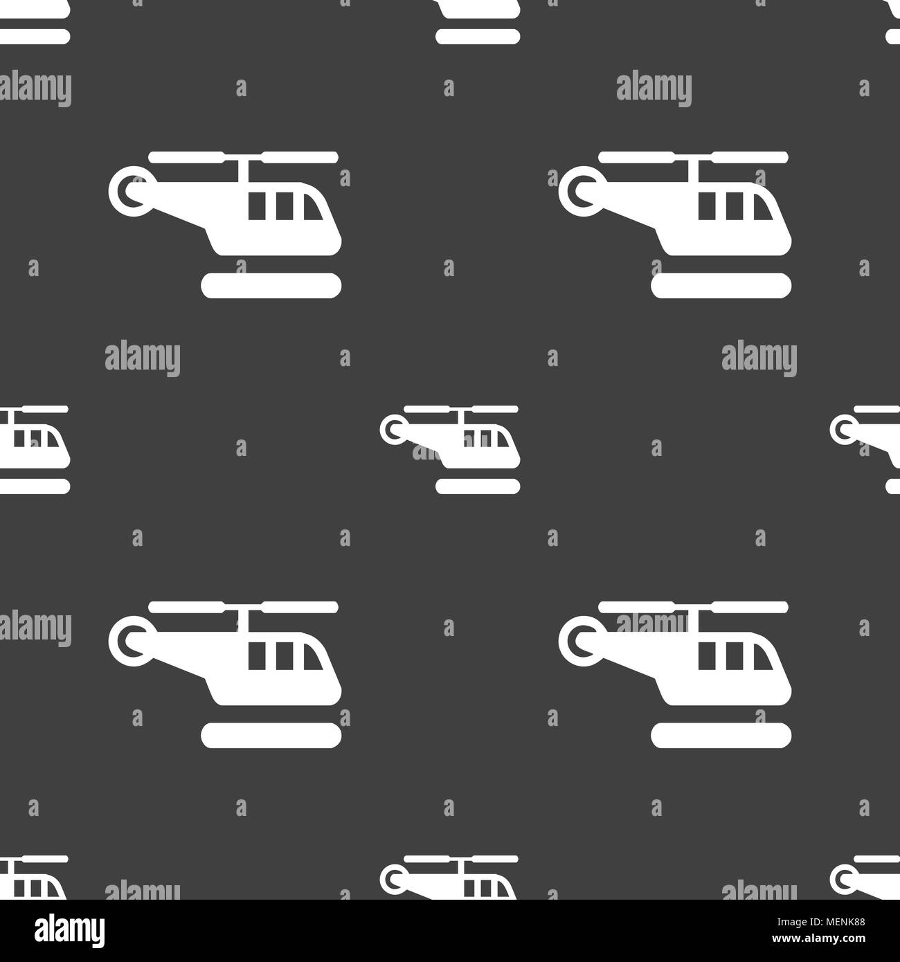 helicopter icon sign. Seamless pattern on a gray background. Vector illustration - Stock Image