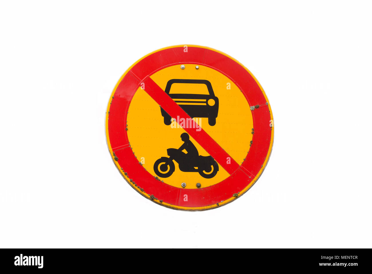 European round traffic sign, the passage of vehicles and motorcycles prohibited. Without pole. Isolated on white Stock Photo