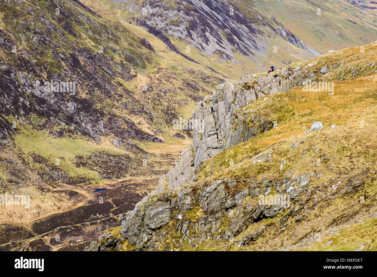 Cneifion Arete rock scramble on Y Gribin ridge with climbers at top in mountains of Snowdonia National Park. Ogwen, Conwy, Wales, UK, Britain - Stock Image