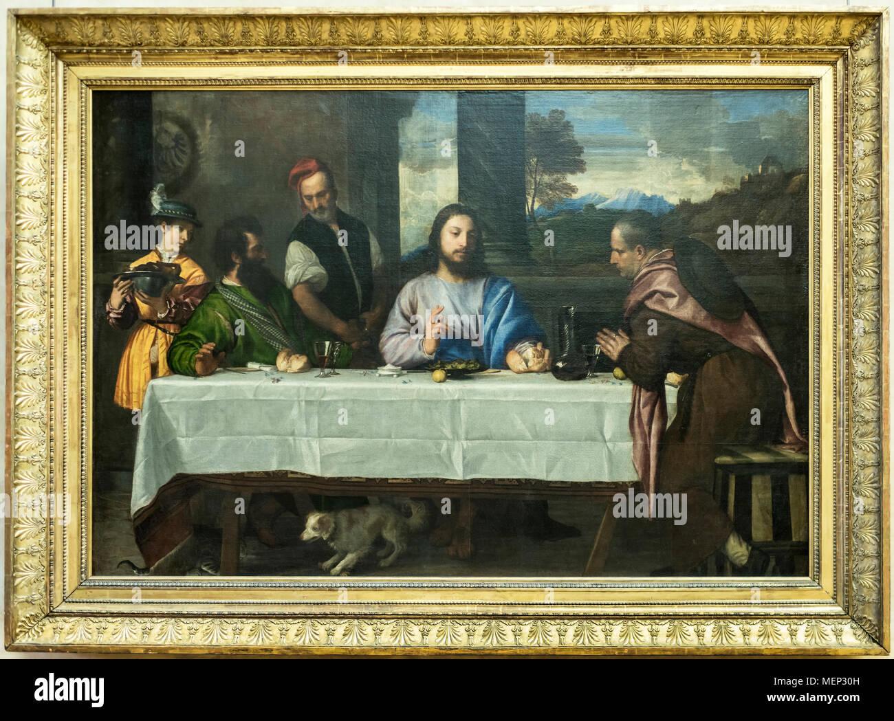 Paris; France- May 03; 2017: The pilgrims of Emmaus- Les Pelerins d'Emmaus.Tiziano Vecellio.Louvre - Stock Image