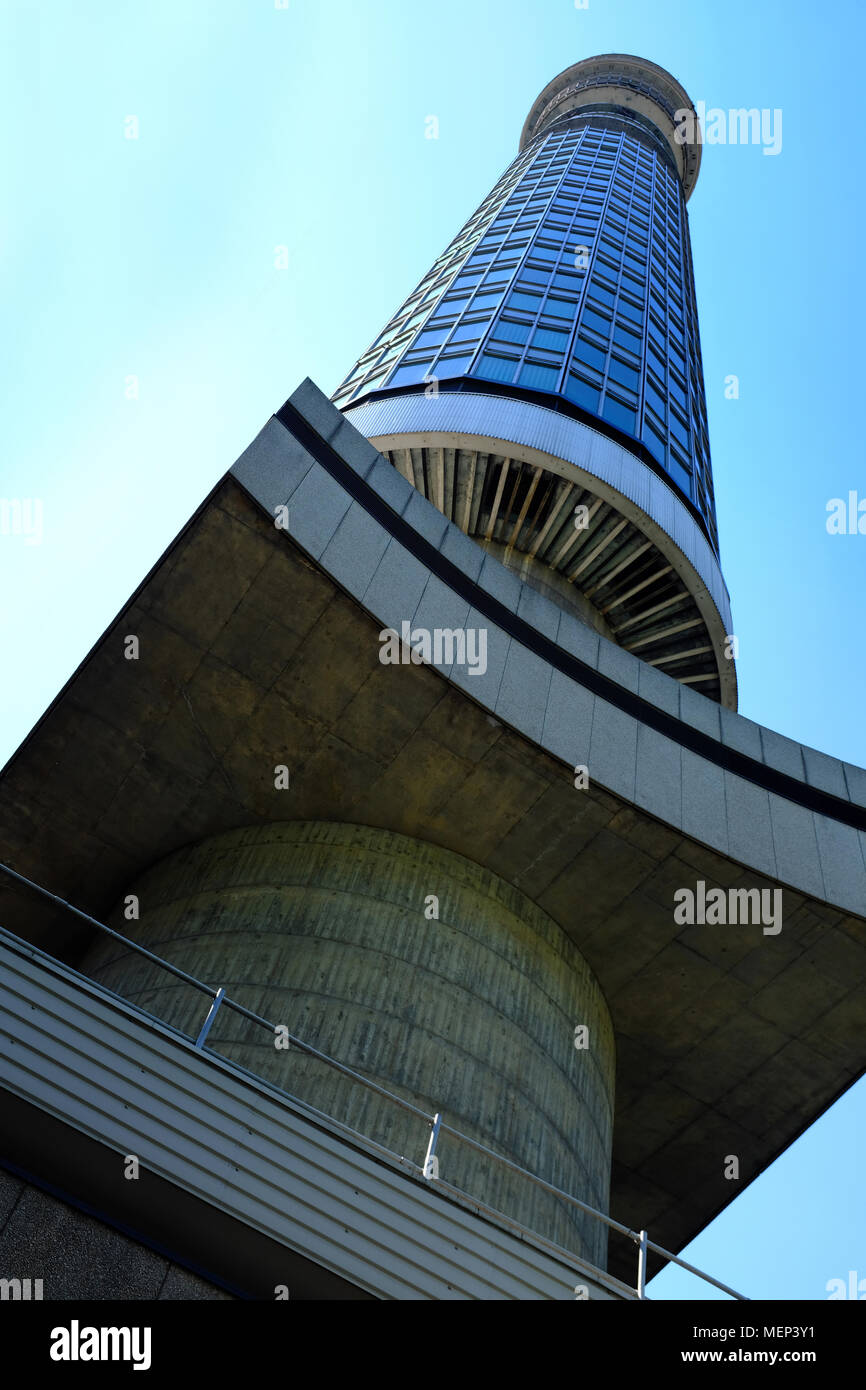 BT Tower taken from below on Cleveland Mews - London W1 - Stock Image